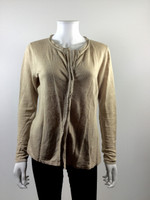 ELIE TAHARI Tan Linen Cardigan Sweater Size Medium