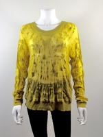 CABI Yellow Burnout Pull Over Sweater Size Medium #477