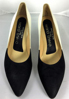 CHARLES JOURDAN Black White Pointed Toe Heel Pump Size 7.5 M
