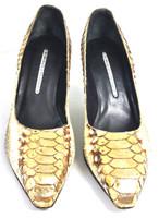 DONALD J PLINER Ivory Brown Croc Leather Pump Heel Size 7.5M