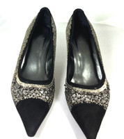 AUTHENTIC DONALD J PLINER Silver Black Sequin Pointed Toe Heel Pump Size 7.5 M