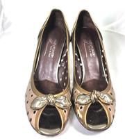 AUTHENTIC DONALD J PLINER Metallic Peep Toe Pump Heel Size 7.5M