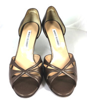 AUTHENTIC MANOLO BLAHNIK Brown Leather Cut Out Open Toe Pump Heel Size 37.5