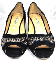 AUTHENTIC OSCAR DE LA RENTA Black Silver Beaded Peep Toe Pump Heel Size 37.5