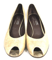 DONALD J PLINER Gold Leather Peep Toe Pump Heel SIZE 7.5M