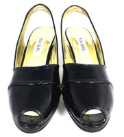 AUTHENTIC ESCADA Black Patent Leather Peep Toe Sandal Pump Heel Size 7.5B