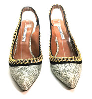 AUTHENTIC OSCAR DE LA RENTA Gray Speckled Leather Chain Slingback Pump Size 37.5