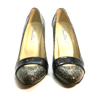 AUTHENTIC OSCAR DE LA RENTA Patent Leather Tortoise Shell PumpSize 37.5