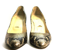 AUTHENTIC JIMMY CHOO Gold Snakeskin Leather Pump Heel Size 37.5