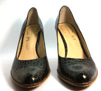 AUTHENTIC MODERN VINTAGE Brown Leather Croc Pump Heel Size 37.5