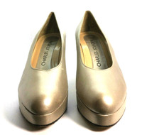 AUTHENTIC CHARLES JOURDAN Gold Leather Pump Heel Size 7.5