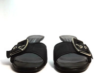 DONALD J PLINER Black Leather Kitten Heel Slide Sandal Size 7