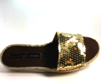 MARC BY MARC JACOBS Gold Sequin Slip On Platform Espadrille Sandal Size 37