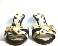 CHRISTIAN LACROIX Denim Ivory Gold Studded Kitten Heel Slide Size 37.5