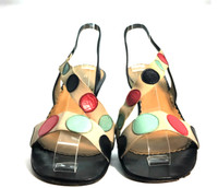 AUTHENTIC MARC JACOBS Multi Color Polka Dot Heeled Sandal Size 7.5
