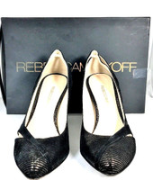 REBECCA MINKOFF Black Leather Suede Bewitched Pump Heel Size 7 IN BOX