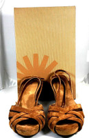 "AUTHENTIC UGG AUSTRALIA Brown Suede ""New Heights"" Wedge Sandal Size 7 IN BOX"