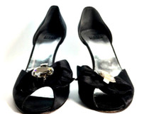 STUART WEITZMAN Black Satin Peep Toe Heeled Pump Size 7.5