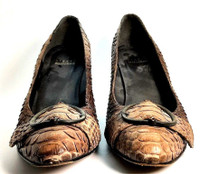 STUART WEITZMAN Brown Croc Leather Heeled Pump Size 6.5