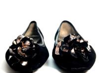 ELIE TAHARI Black Suede Floral Ballet Flat SIZE 37