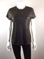 PINK TARTAN Black Gold Beaded Short Sleeve Blouse Size Medium