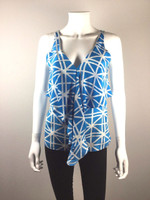 AMANDA UPRICHARD Blue Geometric Print Tank Top Blouse Size Small