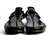 COLE HAAN Black Patent Leather Wedge Sandal Size 7.5