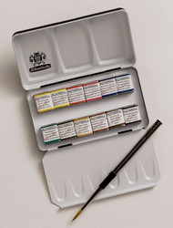 SCHMINCKE - HORADAM FINEST WATERCOLOUR PAINTS - 12 HALF PAN - COMPACT METAL SET