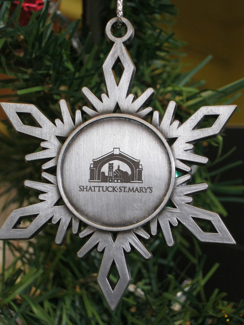 """Handcrafted, flat, solid Pewter Holiday ornament with antique finish and matching cord, featuring the perfect snowflake  and  The Arch– approx.. 2.5""""x2.5"""""""