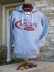 Hooded hockey sweatshirt with screened swoosh logo. 80/20 blend.