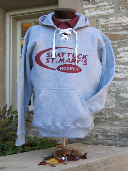 Hooded hockey sweatshirt with screened swoosh logo. 80/20 blend.