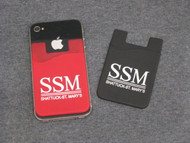 An SSM Cell Phone Wallet combines your cell phone and wallet carrying up to 3 credit cards. Sticky Wallets attach to the back of your cell phone or cell phone case with adhesive. Available in maroon or black.
