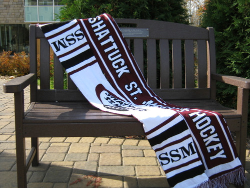 Show your school spirit with a fringed SSM scarf!  64 inches long, approx. 7.5 inches wide, and it's made of 100% acrylic yarn. Black, white and maroon with SSM logo.