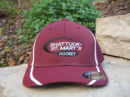 Flexfit performance colorblock hat. Maroon with embroidered hockey logo.