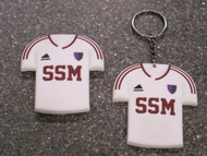 Support your team 24/7 with this replica SSM soccer jersey magnet or key ring.   Both measure 2 1/2 x 2 3/4 inches.
