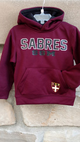 Youth maroon mesh sweatshirt with screened logo and SSM Shield on the pocket, contrasting color hood lining.   Youth sizes Small/ 2T, Medium/ 3T, Large/4T, xlarge/5T