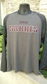 Long sleeve raglan t-shirt.  92% Polyester, 8% Spandex. Screened SSM logo. Heathered gray/Charcoal gray.