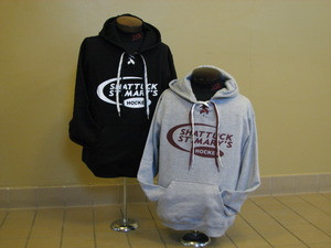 Hooded sweatshirt with screened hockey swoosh logo, laces in neck opening.  80/20 blend.  Gray only.