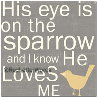 His Eye is on the Sparrow - 5x5 Cafe Mount