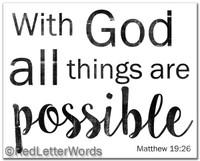 8x10 Matthew 19:26 - Frameable