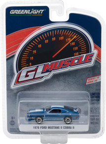 1:64 GreenLight Muscle Series 20 - 1976 Ford Mustang II Cobra II - Blue with White Stripes