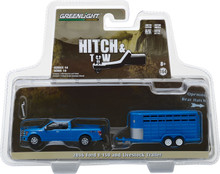 1:64 Hitch & Tow Series 14 - 2016 Ford F-150 with Blue Livestock Trailer