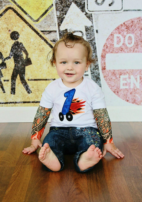 Number One 1st Birthday Racing Tattoo Shirt