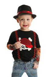 Cool Skull Applique Shirt with Fake Tattoo Sleeves