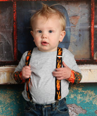 Flame Print Suspenders for Babies and Kids