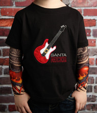 Guitar Santa Rocks Christmas Tattoo Sleeve Shirt