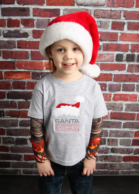 Santa Rocks Christmas Tattoo Sleeve Shirt
