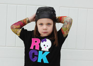 Girls Rock Skull Tattoo Sleeve Shirt