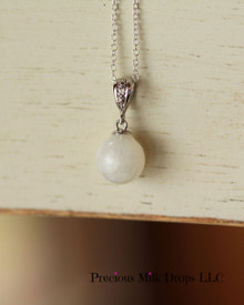 Natural  14k White gold 10mm breast milk bead