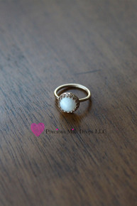 Breast Milk Stone Crown 10 mm Round Ring  - 14K Solid Gold